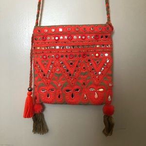 Star Mela Pink and Mirrored Boho Bag with Tassels